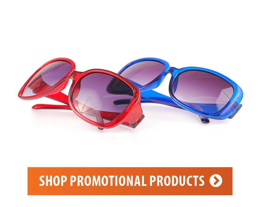 We print on all kinds of promotional products like these sunglasses. Your brand on just about anything.